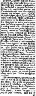 Artikel über Zigeuner von Johann Zedler aus dem 18. Jahrhundert