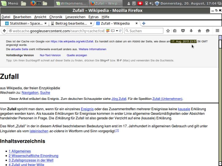 Google Chache vom 17. August 2015